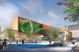 CGI of the some of the green walls at Chester Northgate